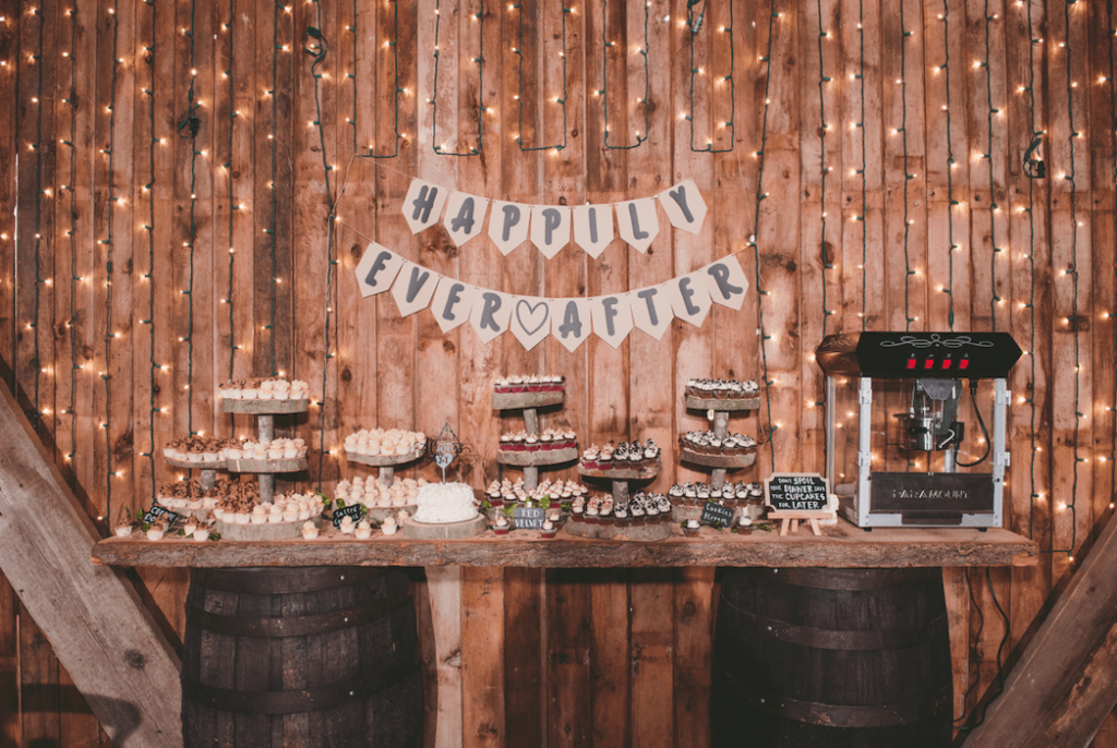 rustic happily ever after dessert bar