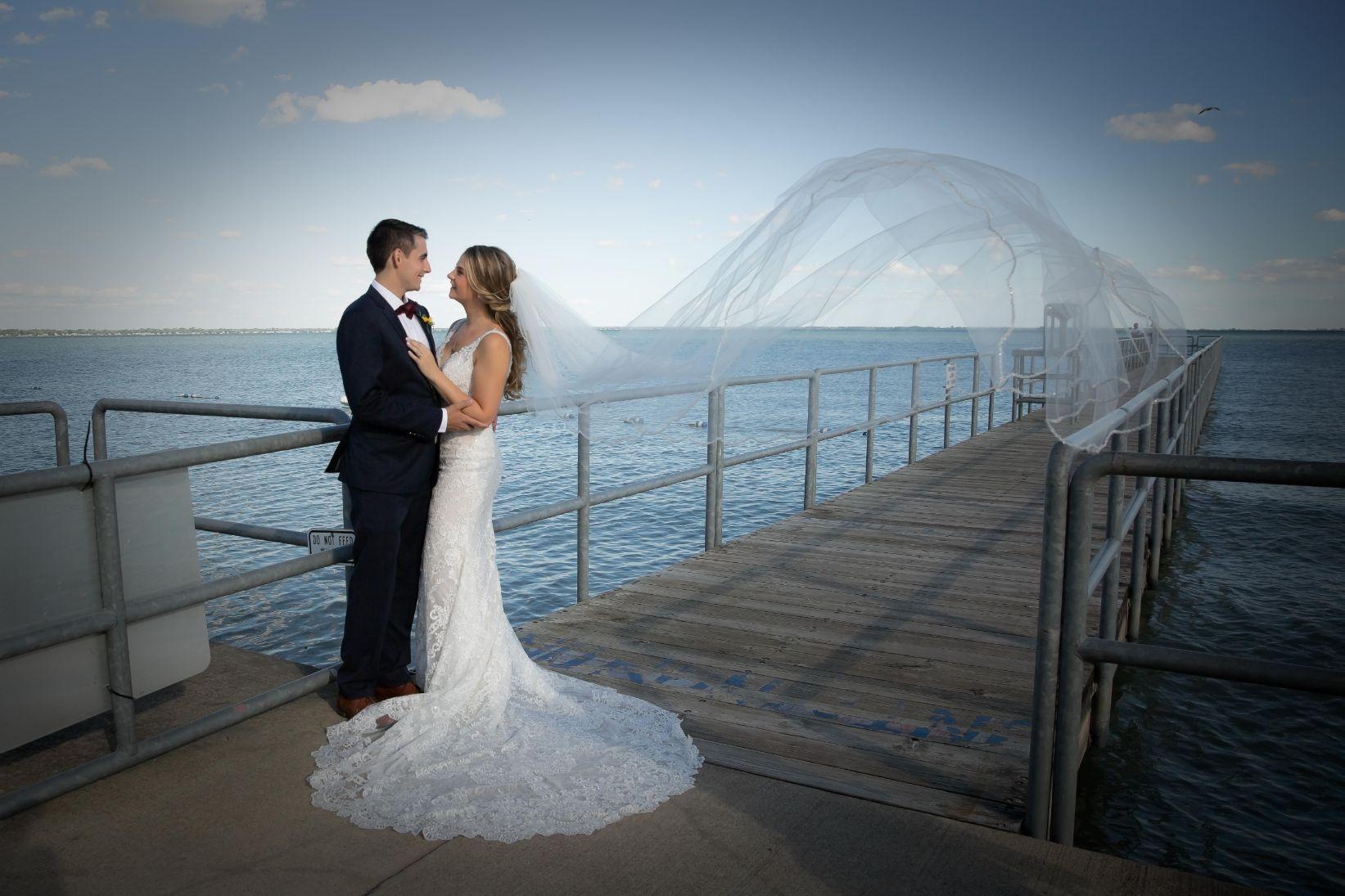 Tessa and Andrew romantics at waterfront 1