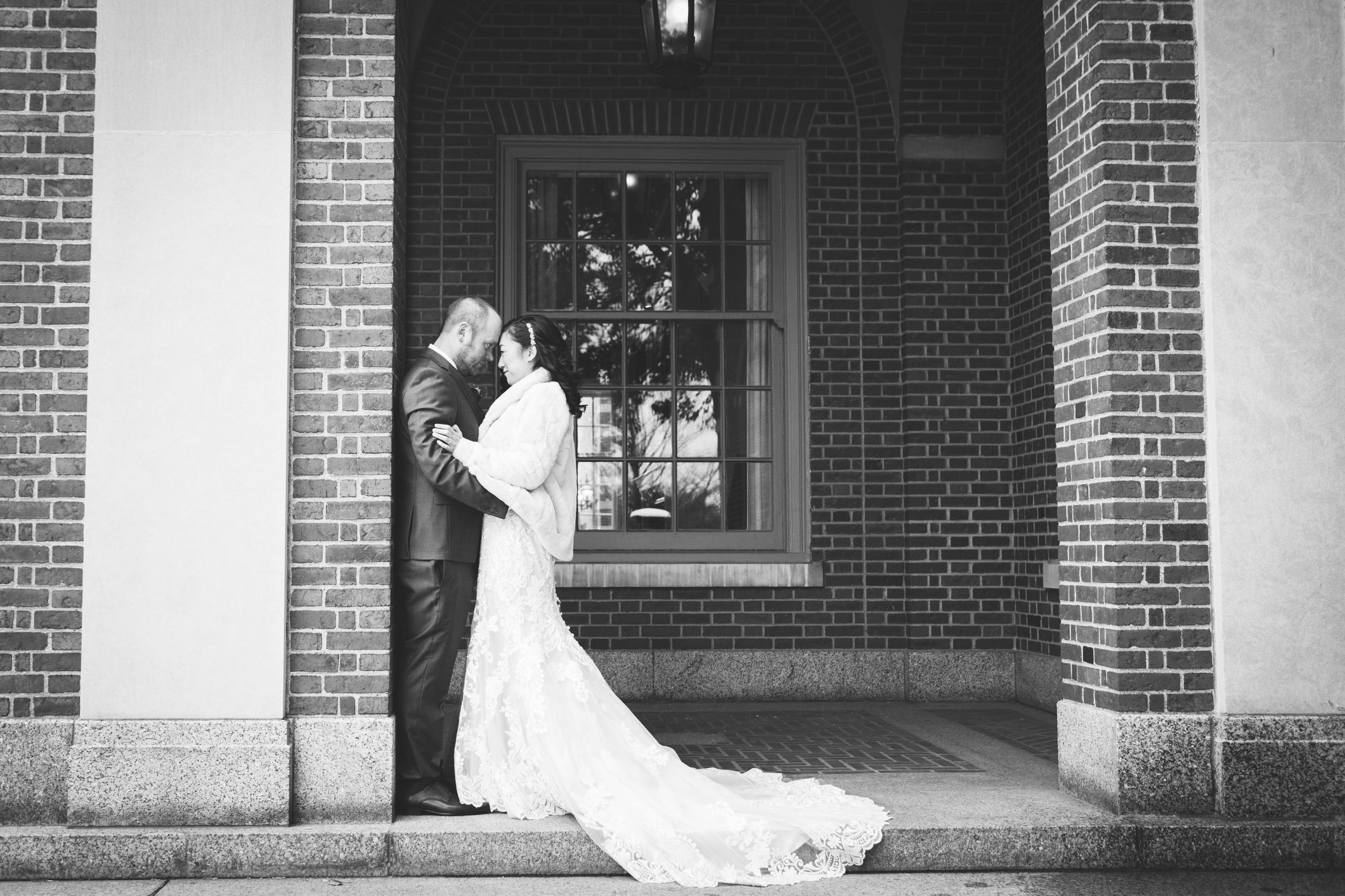 black and white romantic outside dearborn inn