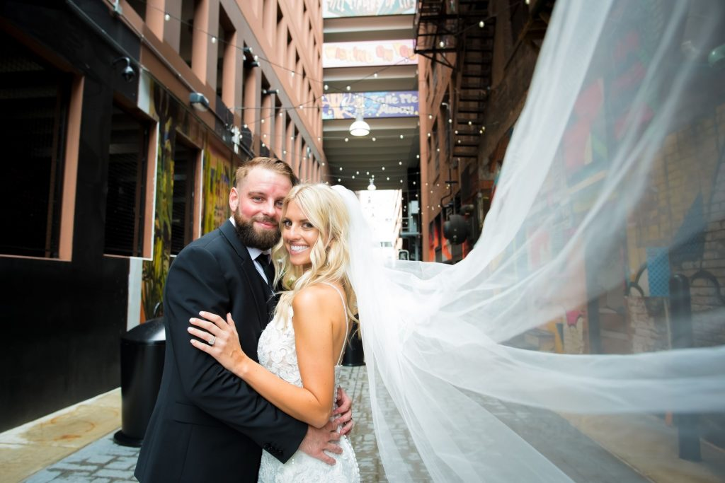 bride and groom at The Belt in Detroit