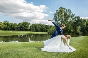 bride and groom dancing shot