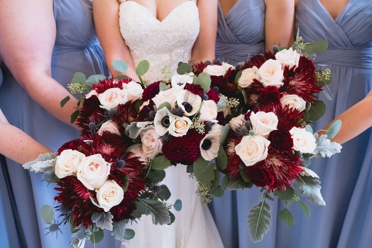 maroon and dusty blue florals