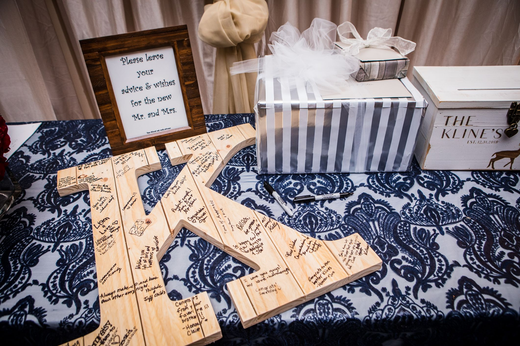 cards and guest book table