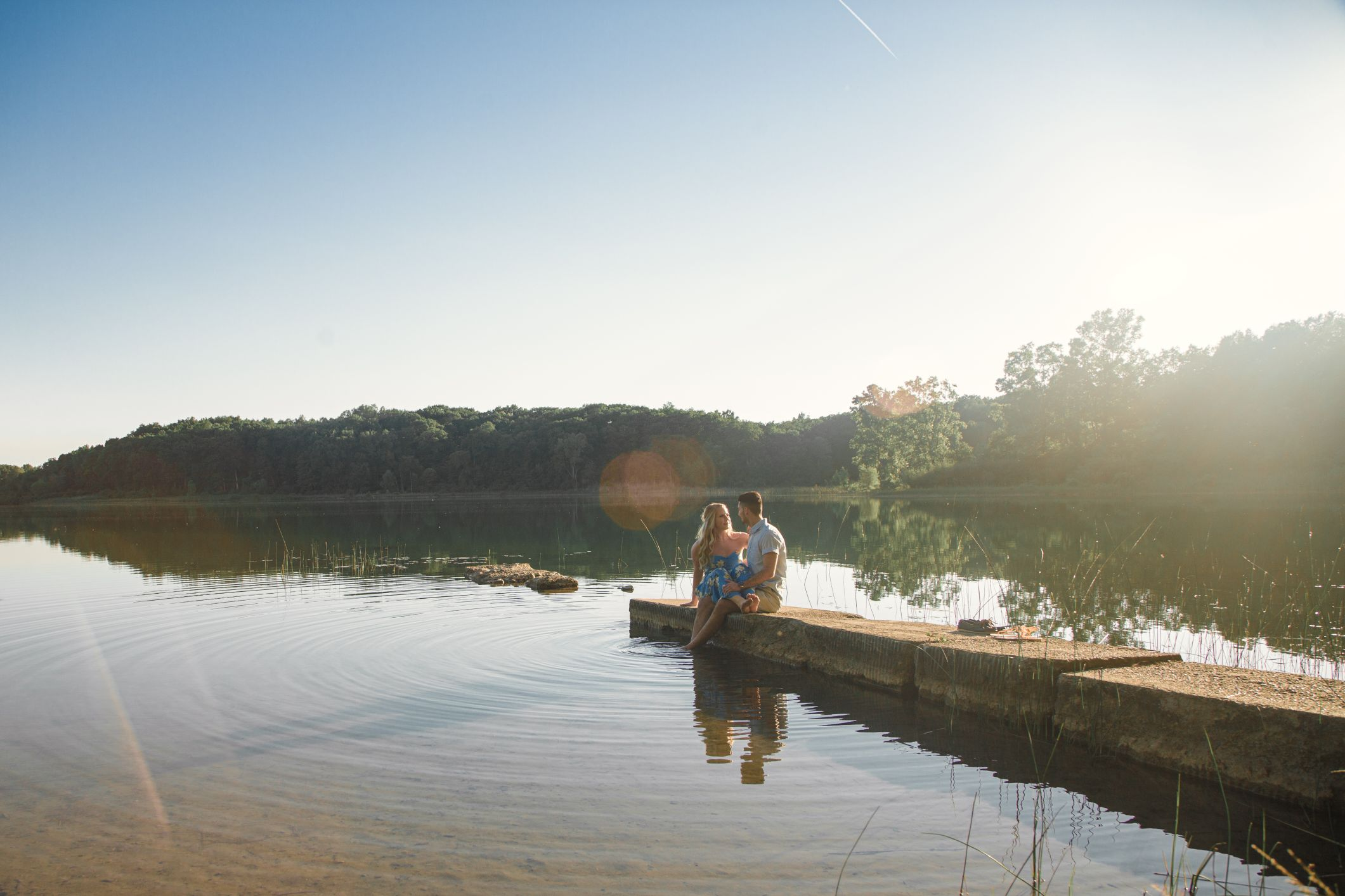engagement session on a dock