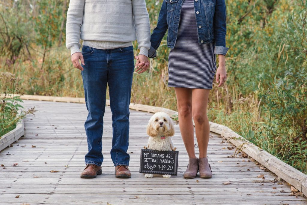 engagement session with dog and sign