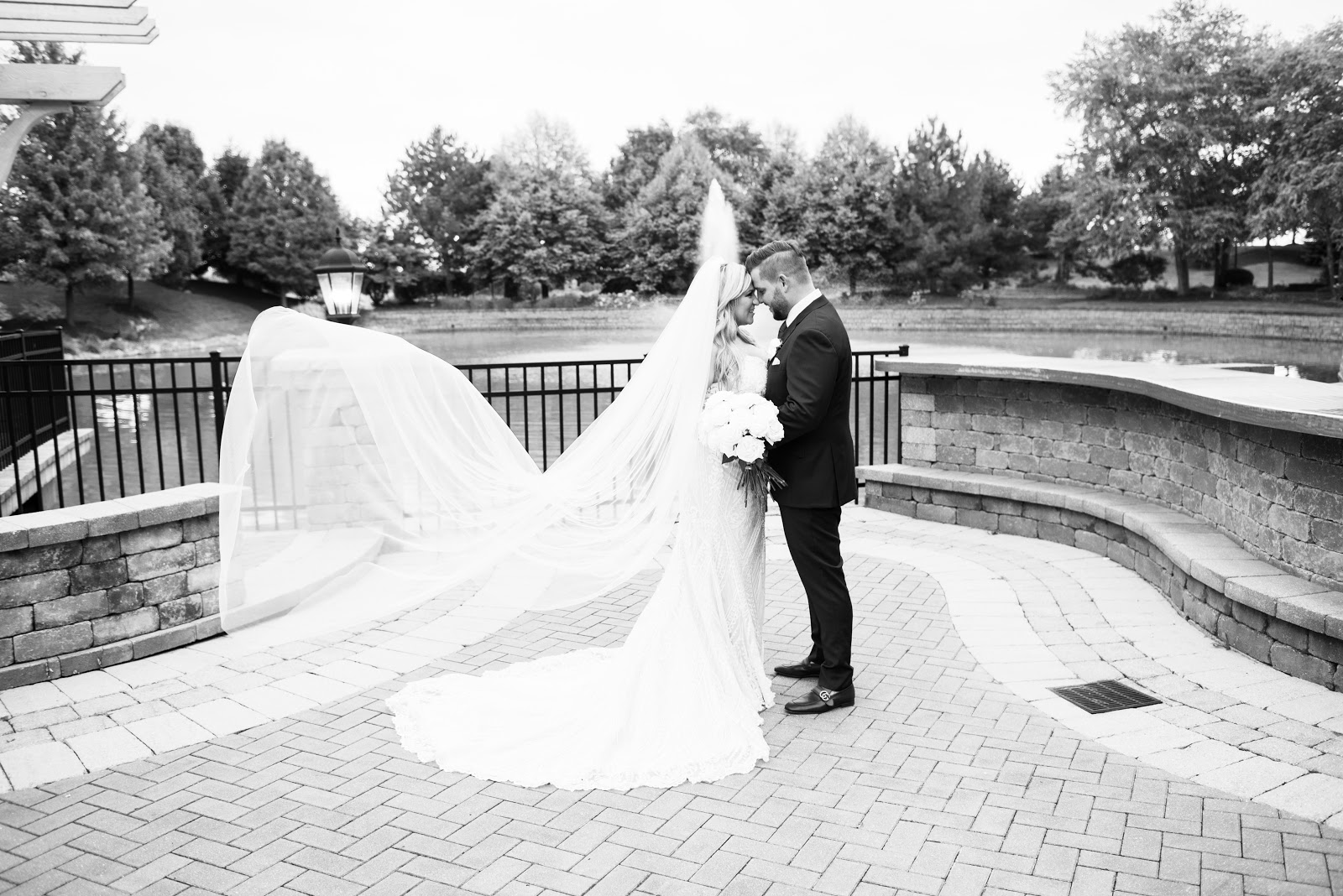 black and white bride and groom romantic