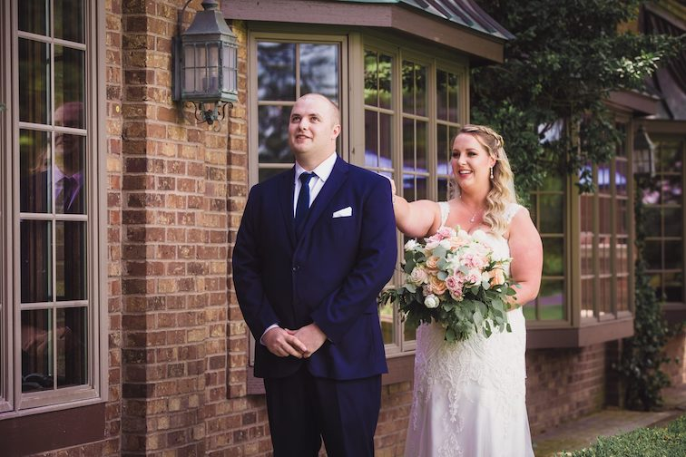 special wedding moments during first look at Indianwood Golf and Country Club