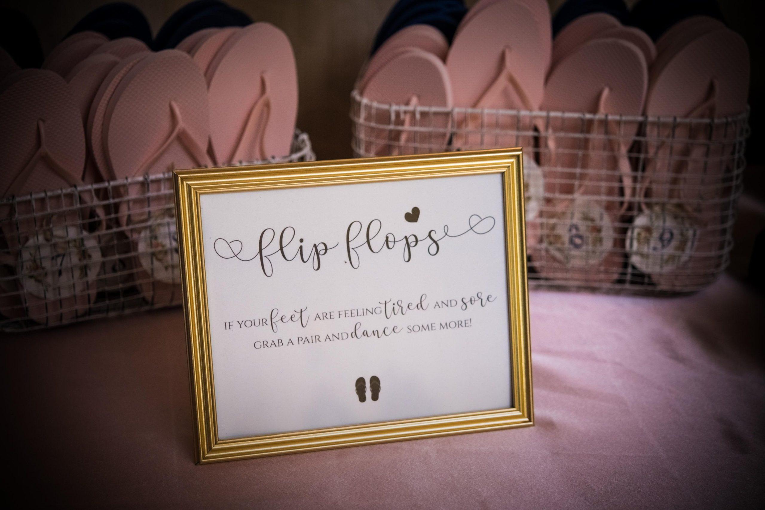 flip flops at wedding reception