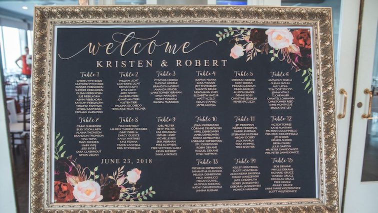 wedding guest list in frame at reception