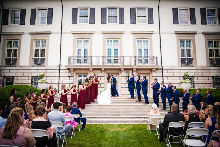 outdoor ceremony on steps