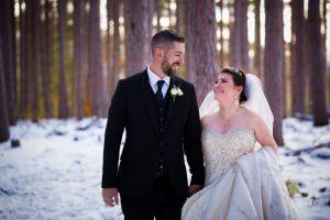 romantics in winter in woods