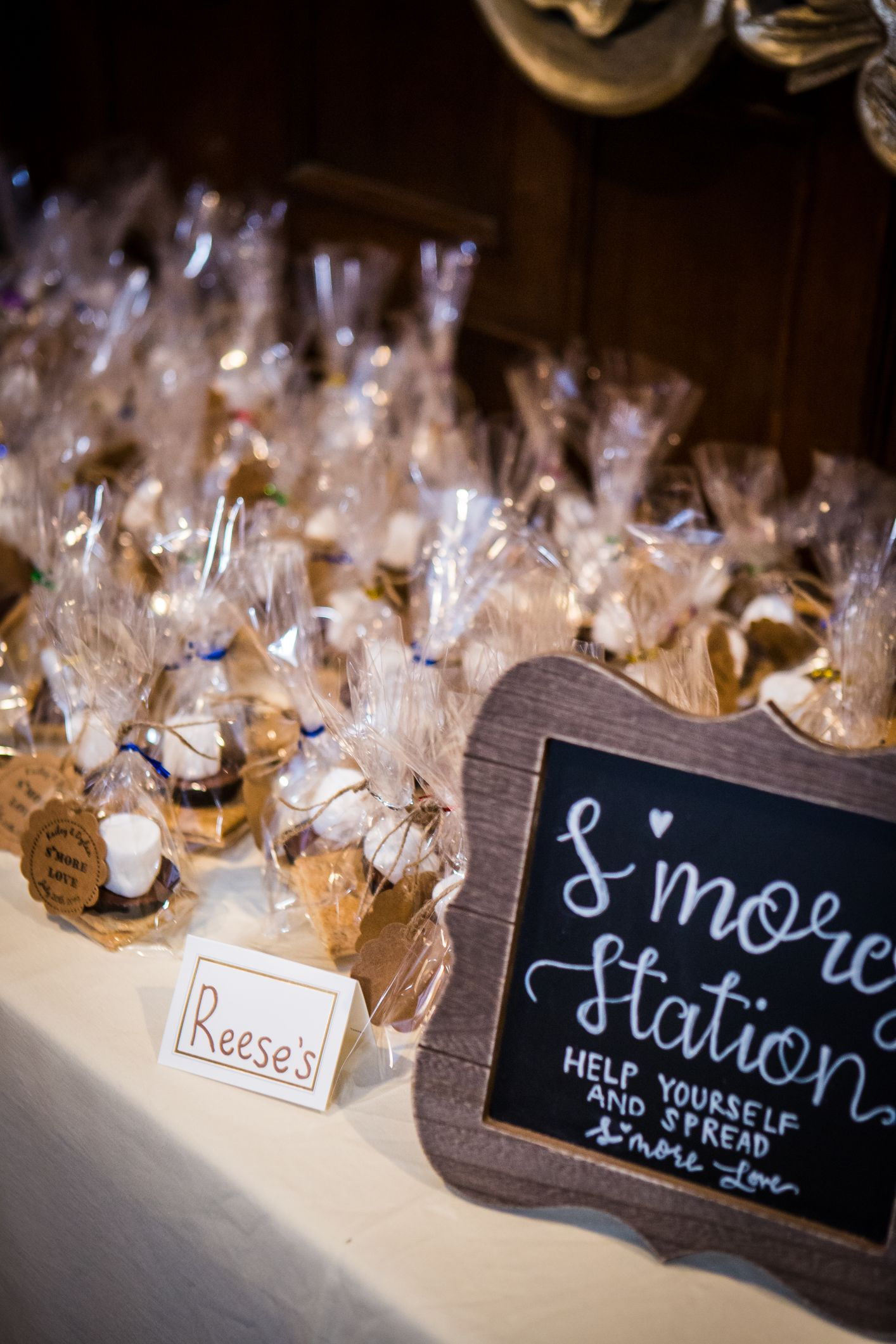 s'mores station at wedding reception