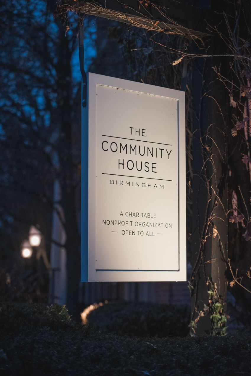 the community house sign