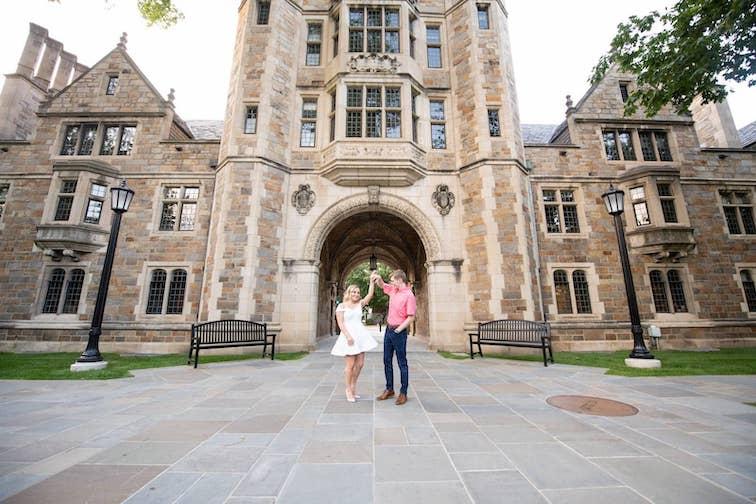Engagement Photos at Michigan Law Quad in Ann Arbor