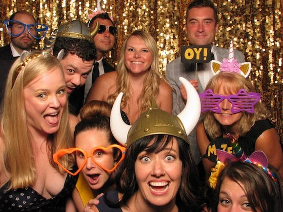 Wedding Guests Using Photo Booth