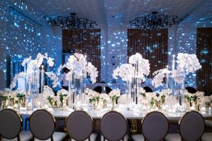 blue uplighting reception