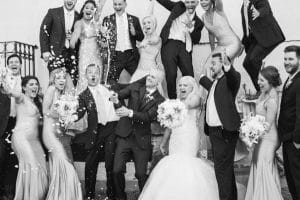 bridal party with champagne