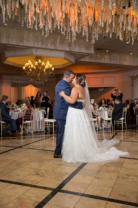 bride and groom dancing at wedding reception in Troy Michigan