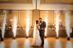 firworks on dance floor wedding reception