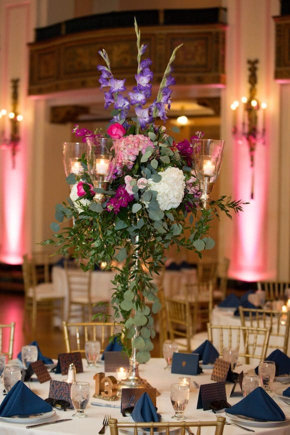 uplighting with floral centerpiece