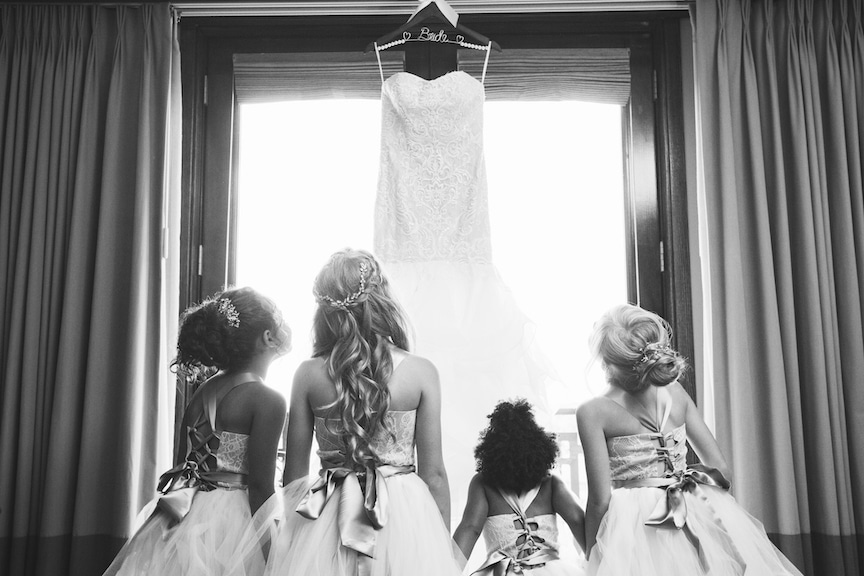 bride with flower girls black and white