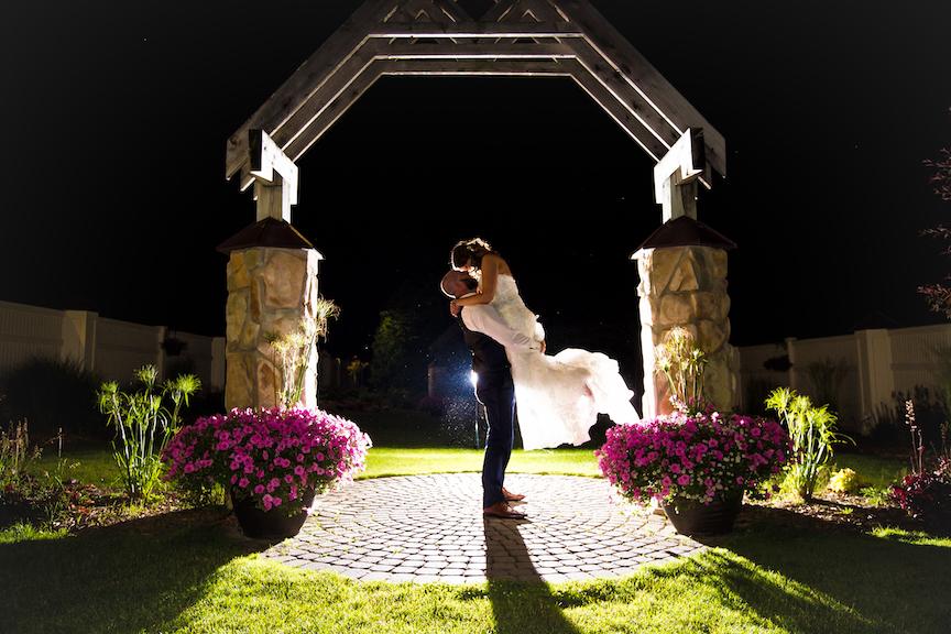 evening wedding photo back light