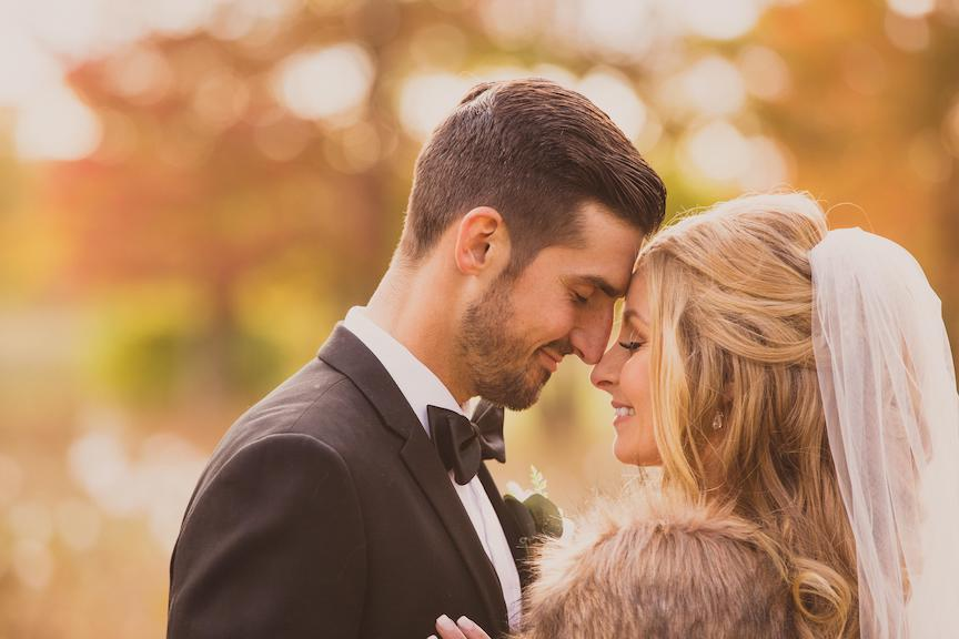 fall wedding photos bride and groom