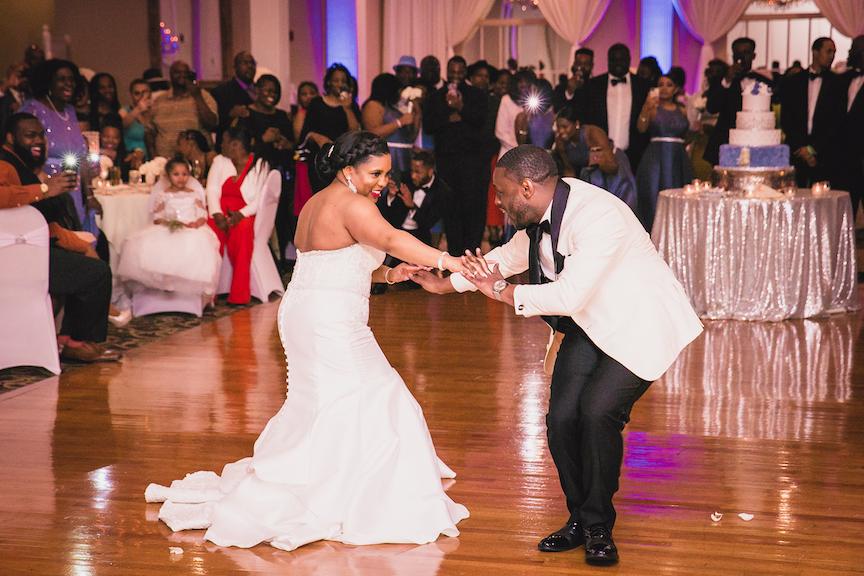 fun dance floor bride and groom