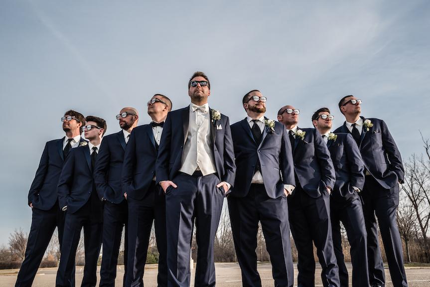 groomsmen outside