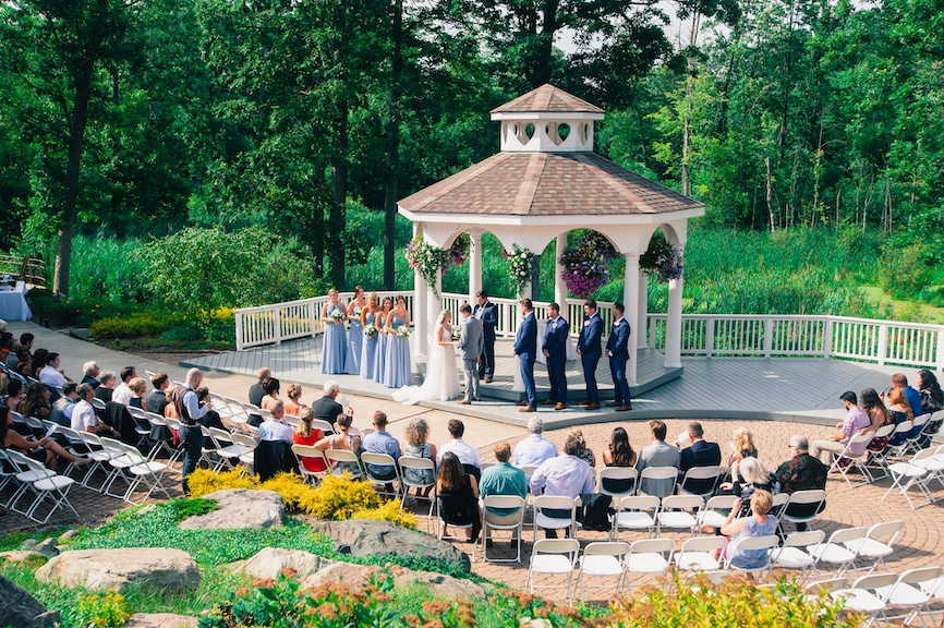 outdoor ceremony from far away