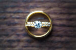 rings and gold band