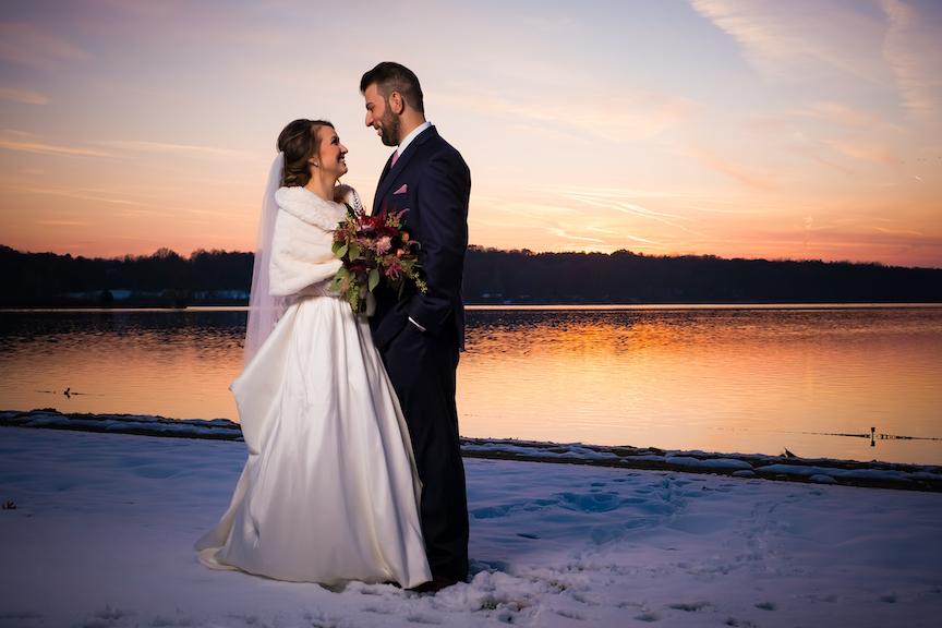 sun set winter wedding photo