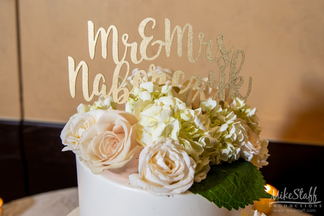blush and gold wedding cake topper